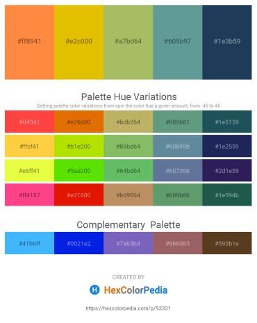 Palette image download - Coral – Gold – Dark Khaki – Cadet Blue – Midnight Blue