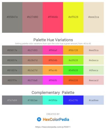 Palette image download - Gray – Rosy Brown – Tomato – Yellow – Beige
