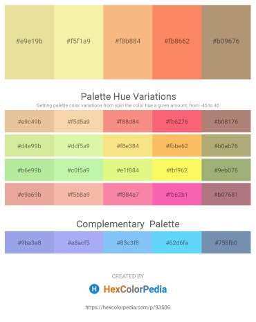 Palette image download - Pale Goldenrod – Wheat – Light Salmon – Salmon – Rosy Brown