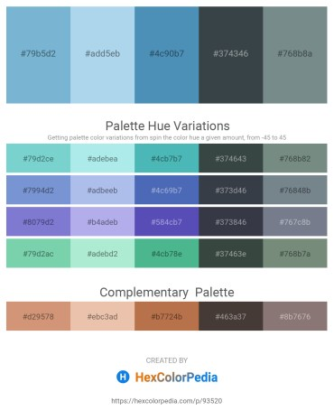 Palette image download - Dark Sea Green – Light Blue – Steel Blue – Dark Slate Gray – Slate Gray