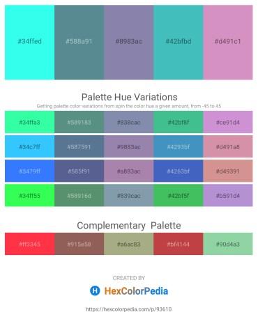 Palette image download - Aqua – Cadet Blue – Light Slate Gray – Medium Turquoise – Plum