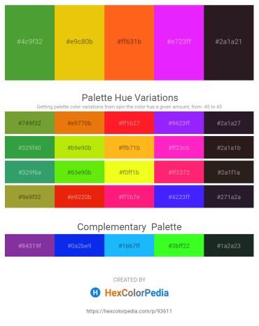Palette image download - Olive Drab – Gold – Orange Red – Dark Violet – Black