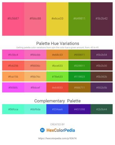 Palette image download - Hot Pink – Salmon – Goldenrod – Olive Drab – Medium Violet Red