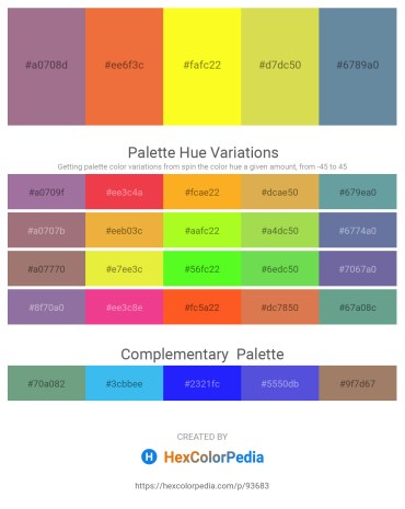 Palette image download - Rosy Brown – Tomato – Yellow – Yellow Green – Cadet Blue