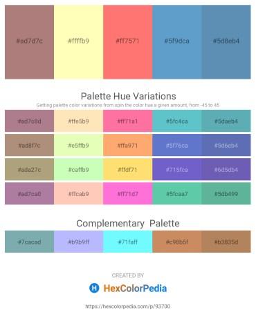 Palette image download - Rosy Brown – Lemon Chiffon – Salmon – Steel Blue – Steel Blue