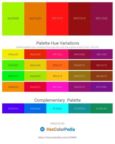 Palette image download - Chartreuse – Dark Orange – Red – Saddle Brown – Firebrick