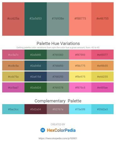 Palette image download - Indian Red – Dark Slate Gray – Light Slate Gray – Salmon – Dark Salmon