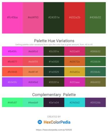Palette image download - Hot Pink – Light Coral – Dark Slate Gray – Firebrick – Dark Olive Green