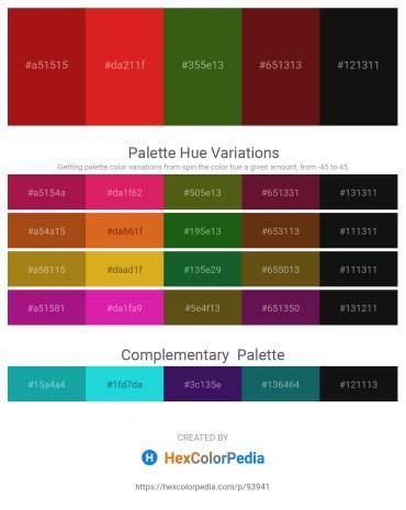 Palette image download - Firebrick – Crimson – Forest Green – Saddle Brown – Black