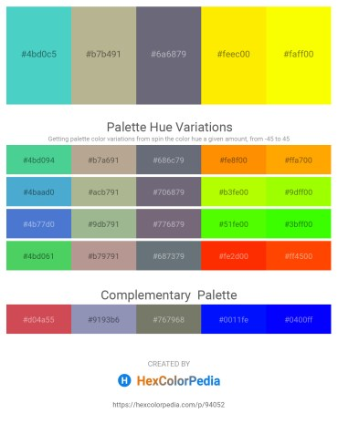 Palette image download - Medium Turquoise – Forest Green – Slate Gray – Yellow – Yellow