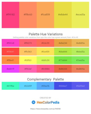 Palette image download - Deep Pink – Coral – Sandy Brown – Goldenrod – Khaki