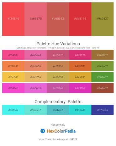 Palette image download - Tomato – Light Coral – Indian Red – Crimson – Olive Drab