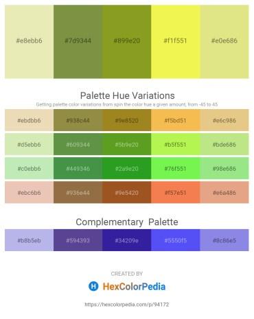 Palette image download - Pale Goldenrod – Dark Olive Green – Olive Drab – Khaki – Khaki