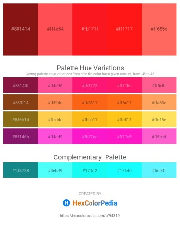 Palette image download - Saddle Brown – Tomato – Red – Red – Tomato