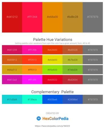 Palette image download - Crimson – Red – Dark Orange – Peru – Dim Gray