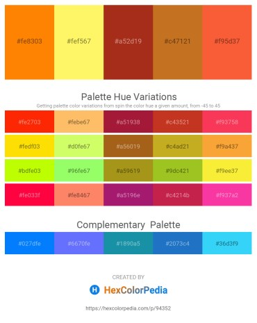 Palette image download - Dark Orange – Khaki – Firebrick – Chocolate – Tomato