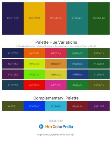 Palette image download - Midnight Blue – Orange – Chocolate – Sea Green – Forest Green