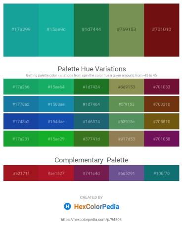 Palette image download - Light Sea Green – Light Sea Green – Forest Green – Dark Olive Green – Saddle Brown
