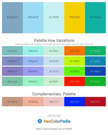 Palette image download - Cadet Blue – Sky Blue – Pale Turquoise – Gold – Light Sea Green