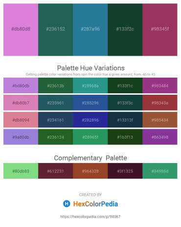 Palette image download - Orchid – Sea Green – Gray – Dim Gray – Brown
