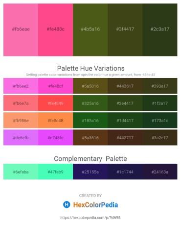 Palette image download - Hot Pink – Hot Pink – Olive Drab – Dark Olive Green – Dark Olive Green