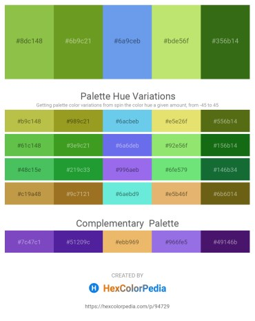 Palette image download - Yellow Green – Olive Drab – Cornflower Blue – Khaki – Forest Green