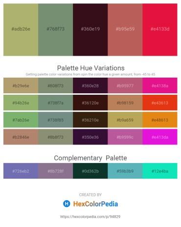 Palette image download - Dark Khaki – Dark Sea Green – Gray – Indian Red – Crimson