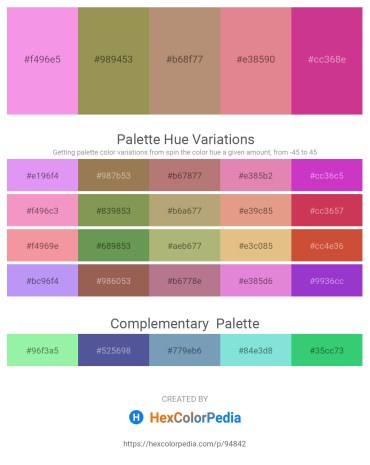 Palette image download - Violet – Dark Khaki – Rosy Brown – Pale Violet Red – Gray