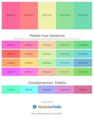 Palette image download - Hot Pink – Light Salmon – Pale Goldenrod – Light Green – Medium Aquamarine