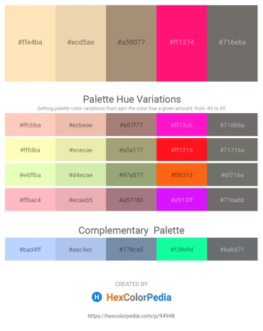 Palette image download - Moccasin – Pale Goldenrod – Rosy Brown – Deep Pink – Dim Gray