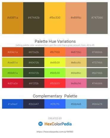 Palette image download - Goldenrod – Dark Olive Green – Gold – Dark Salmon – Dim Gray