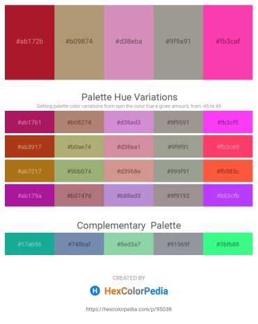 Palette image download - Firebrick – Rosy Brown – Plum – Dark Gray – Deep Pink