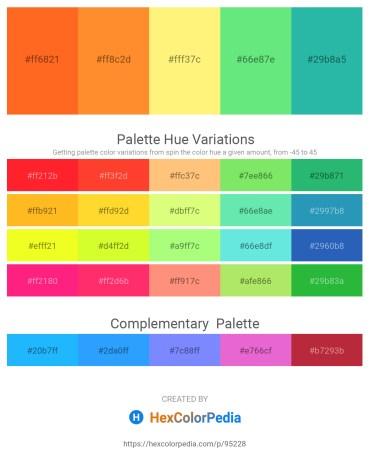 Palette image download - Tomato – Coral – Navajo White – Light Green – Light Sea Green