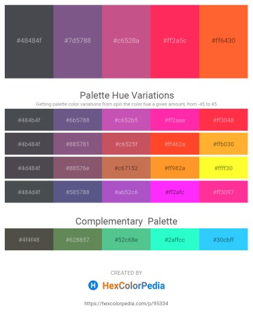 Palette image download - Dark Slate Gray – Dark Slate Blue – Indian Red – Deep Pink – Tomato