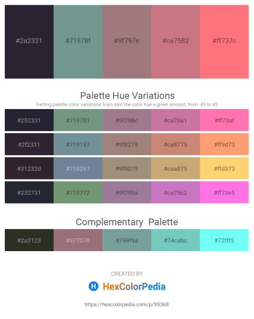 Palette image download - Black – Light Slate Gray – Rosy Brown – Indian Red – Salmon