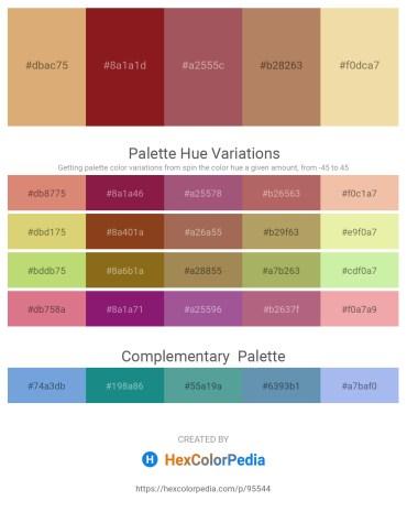 Palette image download - Burlywood – Firebrick – Indian Red – Rosy Brown – Pale Goldenrod