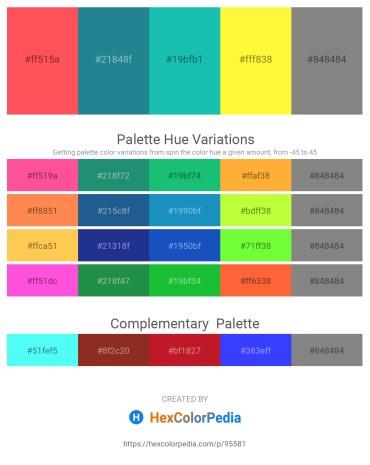Palette image download - Tomato – Light Sea Green – Light Sea Green – Yellow – Gray
