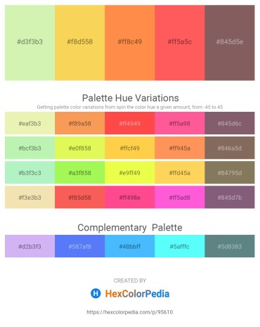 Palette image download - Pale Goldenrod – Green Yellow – Coral – Tomato – Dim Gray