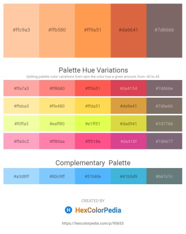 Palette image download - Navajo White – Light Salmon – Coral – Peru – Dim Gray