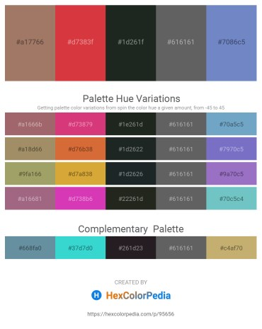 Palette image download - Rosy Brown – Firebrick – Dark Slate Gray – Dim Gray – Steel Blue