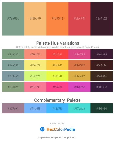 Palette image download - Dark Sea Green – Sandy Brown – Coral – Indian Red – Saddle Brown