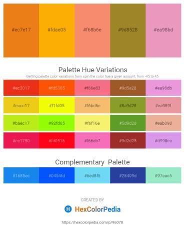 Palette image download - Chocolate – Orange – Salmon – Pale Goldenrod – Violet