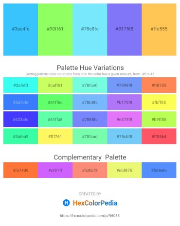 Palette image download - Dodger Blue – Green Yellow – Light Sky Blue – Medium Slate Blue – Sandy Brown