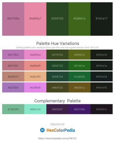 Palette image download - Rosy Brown – Pale Violet Red – Dark Olive Green – Forest Green – Dark Slate Gray