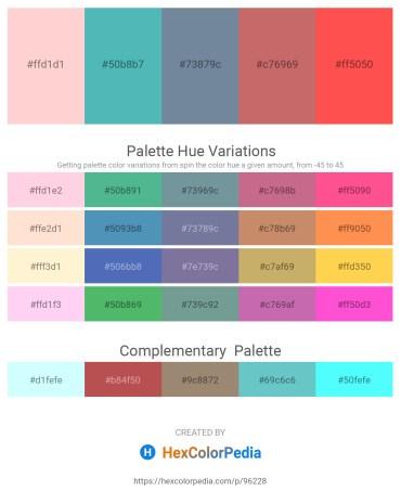 Palette image download - Pink – Medium Aquamarine – Light Slate Gray – Indian Red – Tomato