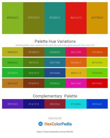 Palette image download - Yellow Green – Olive Drab – Sea Green – Crimson – Dark Goldenrod