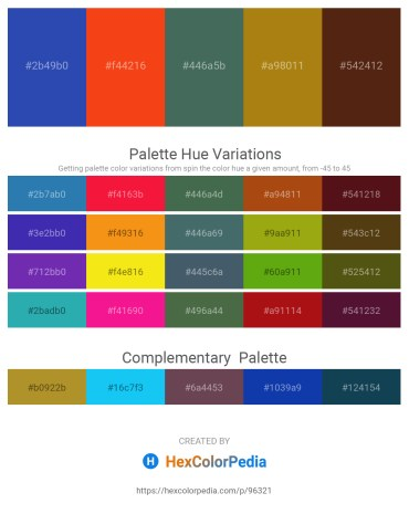Palette image download - Royal Blue – Orange Red – Dark Slate Gray – Dark Goldenrod – Saddle Brown
