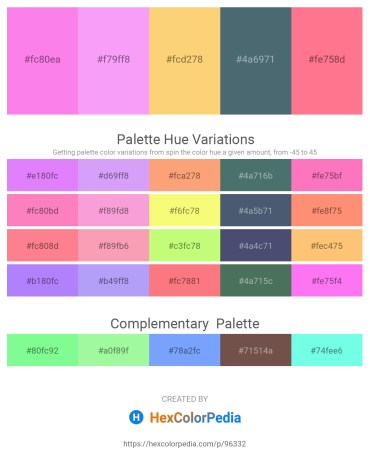 Palette image download - Hot Pink – Indian Red – Brown – Dark Slate Gray – Salmon