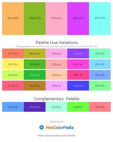 Palette image download - Sandy Brown – Yellow Green – Light Pink – Blue Violet – Aquamarine
