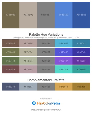 Palette image download - Dim Gray – Rosy Brown – Gray – Royal Blue – Steel Blue
